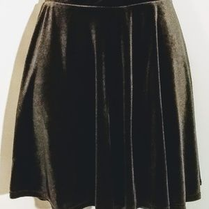 Olive Green Velvet Mini Skirt